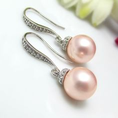 Pearl Bridal Earrings and Necklace Set Round Pink Blush Pearl Dangle Earrings Wedding Jewelry Bridesmaid Gift Pearl Jewelry Rose Soft Pink. $39.99, via Etsy.