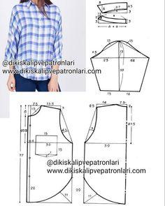 42 Beden (çok bol ve dökümlü bir gömlek kalıbı bu , daha dar yapmak isteyenler 48 bedene kadar uygulayabilir) gömlek kalıbı. Uzatarak uzun…