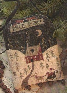 Primitive Folk Art Cupboard Door Hanger Punchneedle Pattern: TREE FARM -- Pre-stamped Weavers Cloth Included. $13.75, via Etsy.