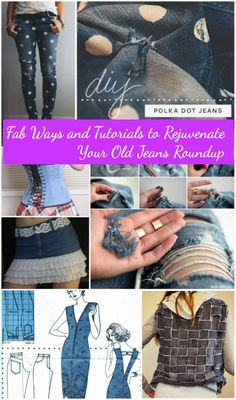 20 Fabulous DIY Ideas and Tutorials to Refashion Your Old Jeans Diy Clothes Hacks, Diy Clothes Hangers, Diy Clothes Storage, Diy Clothes Refashion, Diy Clothes Videos, Clothing Hacks, Clothing Ideas, Diy Clothes Patterns, Bag Patterns