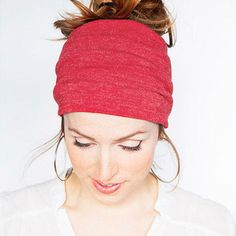 Red Knit Tube Headband Stretch Yoga Hair band Red Boho Headband Red Head  Wrap Hairband Wide Headband Christmas gift idea fe1ce95b0ad