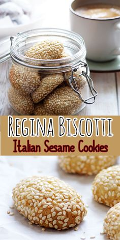 How to Make Biscotti Regina or Sicilian Reginelle Cookies Recipe with step by step photos & video. Crispy and delicious Italian sesame seed covered cookies. They are incredibly great with coffee or tea. Italian Sesame Cookies Recipe, Sesame Seeds Recipes, Italian Cookie Recipes, Italian Cookies, Italian Foods, Italian Desserts, Eggless Cookie Recipes, Eggless Baking, Eggless Biscotti Recipe
