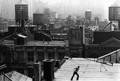 """grupaok: """" Trisha Brown, Roof Piece, 53 Wooster St. to 381 Lafayette St., New York City, 1973 — Photograph by Babette Mangolte """""""