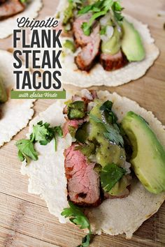 Ohmygood!!!!!!!!!  Chipotle Flank Steak Tacos with Salsa Verde.  Super good and easy -- used TJ's salsa verde