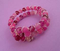 Pink Agate Wire Wrapped Memory Wire Bracelet by SerendipityFinch, £15.00
