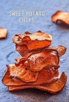 These Homemade Baked Sweet Potato Chips are really easy and all you need is ONE sweet potato, olive oil, salt and pepper. That's it!