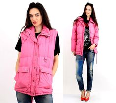 Vintage 80's Pink Eiderdown  Removable Sleeve Winter Parka Size S by Ramaci on Etsy