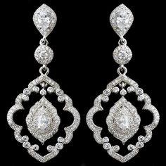 So elegant! Vintage Look CZ Teardrop Dangle Bridal Earrings - Affordable Elegance Bridal -