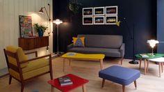 Nouvel boutique kann design meuble années 50 coloré bois et enfilade scandinave décoration intérieur