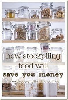 Save money on the groceries by stockpiling. No, by stocking enough food to see you through a disaster of epic proportions, but by buying enough of a food item at discount to see you through until that item is discounted again.