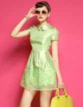 Green Lapel Short Sleeve Embroidered Slim Dress
