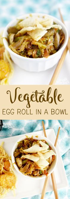 This Vegetable Egg Roll in a bowl is quick to make and tastes great! A simple side that tastes just like an eggroll! This Vegetable Egg Roll in a bowl is quick to make and tastes great! A simple side that tastes just like an eggroll! Vegetarian Eggs, Vegetarian Recipes, Healthy Recipes, Vegetarian Cooking, Healthy Foods, Vegetable Egg Rolls, Vegetable Bowl, Egg And Grapefruit Diet, Chicken Spring Rolls