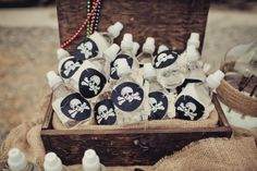 Pirate patch water bottles | Peter Pan Neverland Birthday Party | Jenny Cookies