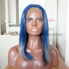 43.23$  Buy here - http://aliknm.worldwells.pw/go.php?t=32465732614 - In stock Ombre Synthetic Wig Short Bob Wigs Two Tone Lace Front Wig Heat Resistant Fiber Short Haircut  Grey/Blue Bob Hair Wig