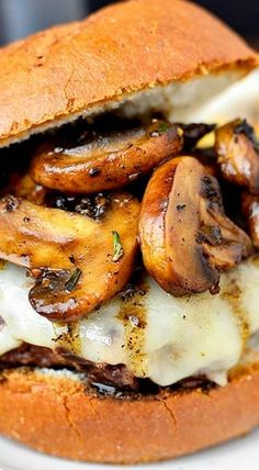 Swiss Pan Burgers with Rosemary-Mushroom Pan Sauce is an easy yet elegant 20 minute meal made in just one skillet. Swiss Pan Burgers with Rosemary-Mushroom Pan Sauce - Swiss Pan Burgers with Rosemary-Mushroom Pan Sauce Pan Burgers, Gourmet Burgers, Burger And Fries, Beef Burgers, Burger Recipes, Beef Recipes, Cooking Recipes, Sauce Recipes, Egg Burger
