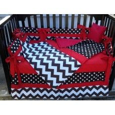BLACK WHITE POLKA DOT CHEVRON w/ RED Crib Bedding Set
