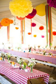 streamers + crepe paper flowers    Style Me Pretty | Gallery