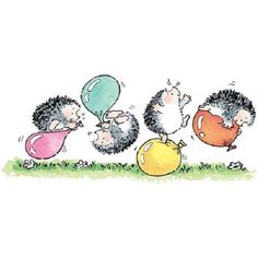 PENNY BLACK RUBBER STAMPS BALLOON MADNESS HEDGEHOGS #PENNYBLACK