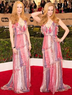 Nicole Kidman working her Gucci  trompe l'oeil gown on the 2016 SAG Awards red carpet