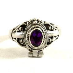 Secret Compartment Poison Ring with Dark Purple by Spoonier Amethyst Stone, Purple Amethyst, Vintage Lockets, Vintage Jewelry, Mens Silver Jewelry, Poison Ring, Jewelry Rings, Jewellery, Secret Compartment