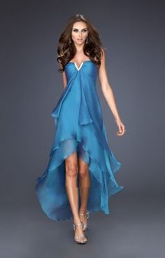 Robe de cocktail originale bleue plissee LF15033