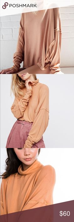 We the Free Alameda Pullover Oversized and slouchy pullover in a slub rib fabric with raw seam detail. Obsessed with the dolman sleeves and turtleneck! A go to top for chillier days! Color: acorn Free People Tops Tees - Long Sleeve
