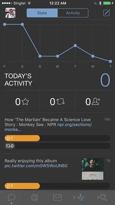 Activity view on Tweetbot 4 Balance Design, Ios Ui, The Martian, Ui Design, How To Become, Science, App, Activities, Mars