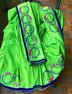 Saree Embroidery Design, Hand Embroidery Designs, Embroidery Stitches, Silk Saree Blouse Designs, Fancy Blouse Designs, Princess Dress Patterns, Designer Blouse Patterns, Mirror Work, Neck Design
