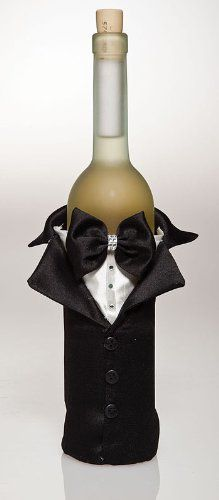 $11.88-$14.26 Tux Wine Bag - Why just bring a bottle of wine to the party when you can bring it in style? Chic black and white fabric surrounds this tux-style bag. From its handsome collar to its simple button details, this bag adds so much flair to a simple gift of wine. http://www.amazon.com/dp/B0057POPWM/?tag=pin2wine-20