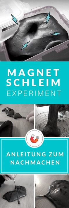 Magnet Experiment für Kinder. Wie macht man magnetischen Schleim selbst macht, erfährst du in unserer Schritt für Schritt Anleitung für DIY Slime