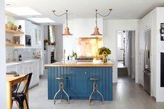 Copper pendants in a kitchen