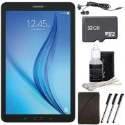 """Samsung Galaxy Tab E 9.6"""" 16GB Tablet PC (Wi-Fi) - Black 32GB microSD Card Bundle includes Tablet, Memory Card, Cleaning Kit, 3 Stylus Pens, Metal Ear Buds and Protective Sleeve"""