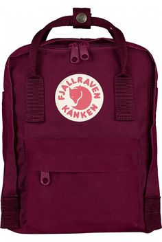 Fjallraven Kanken Mini Backpack Forest Green   Ox Red - The Kånken Mini is  a shrunken version of the classic backpack that is suitable for smaller chi 049d0f311d942