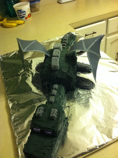 Minecraft Ender dragon birthday cake from scratch. Actually pretty easy!