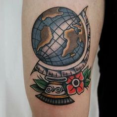 Traditional globe tattoo, by Crazy Lessi.