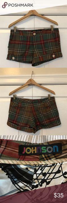Johnson plaid vintage shorts Wool plaid shorts with a beautiful abstract silk lining. Johnson Shorts
