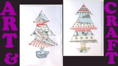 Easy Christmas card tutorial. @ versions of the same card, one easy and one thats just a little bit trickier. Al you need is card, wrapping paper and glue - preferably double-sided tape but PVA will work.