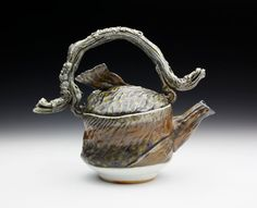 Wood Fired Cone 11 Porcelain Hand Made Brook Trout Teapot (Nature as Objects)