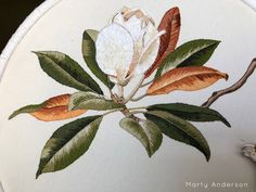 Thread Painting, Hand Embroidery Designs, Textile Art, Felting, Magnolia, Needlework, Fiber, Crafting, Stitch