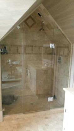 Beautiful Frameless Inline Door And Panel With Minimal Hardware - Asheville bathroom remodeling