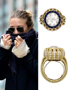 Mary- Kate Olsen -A vintage 1953 Cartier ring, featuring a center European-cut diamond framed by 16 sapphires and petals set with single-cut diamonds.