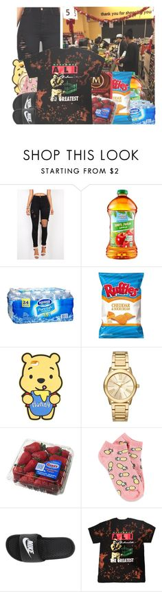 """""""Late Night Shopping."""" by w-on-der-lan-d ❤ liked on Polyvore featuring Disney, Michael Kors, Forever 21, NIKE, shopping, natemaloley and swazz"""