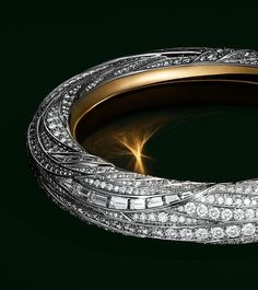 Bracelet in platinum and 18k gold with baguette and round brilliant diamonds.