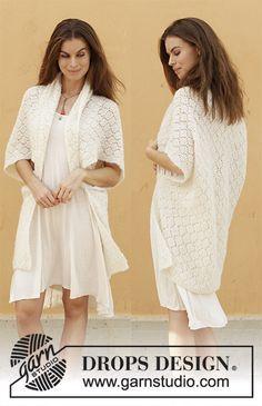 Comfort Wrap / DROPS 187-27 - Gilet tricoté avec point ajouré, en DROPS Brushed Alpaca Silk. Du S au XXXL.