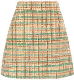 Miu Miu - Checked Wool-blend Tweed Mini Skirt - Yellow