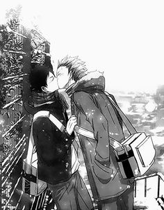 """""""Akashi!"""" Yelled Bokuto as he ran towards his friend, and now lover. """"What is is, Boku-"""" the setter's words were interrupted by an unsuspecting kiss........  OKAY, now whoever comments can continue the story! Have fun with it!   /// haikyuu hq fukurodani bokuto Akashi karasuno volleyball anime boyxboy bl"""