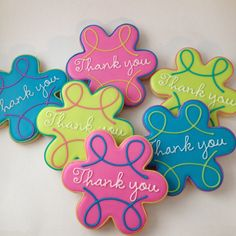 Bright Thank You cookies Royal Icing Cookies, Sugar Cookies, Cookie Decorating, Decorating Tips, Thank You Plaques, Thank You Cookies, Instagram Posts, Heaven, Bright