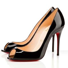f53beb2f76 Christian Louboutin Sexy 100 Patent Leather Peep-toe Pumps Black Red  Wedding Shoes, Cheap