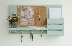 NEW .....Country Cottage Mail and Key Holder..Corkboard ..Organizer.....Aged Jade....Ready to Ship on Etsy, $49.95