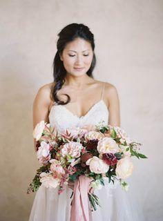 Sunstone Villa Wedding by Jen Huang Photo Sweetheart Neckline and Blush Bouquet